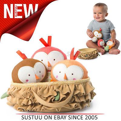 Bright Starts Tweeting Birds in a Nest Set│Baby/ Kid's Soft Plush Toy│With Sound