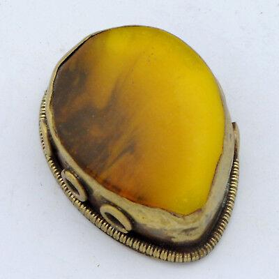 Yellow Resin Brass Focal Bead Tibetan Nepalese Handmade Ethnic Nepal BD3201