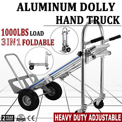 3 In 1 All Aluminum Hand Truck Dolly 1000 Lb Utility Cart Folding Multifunction