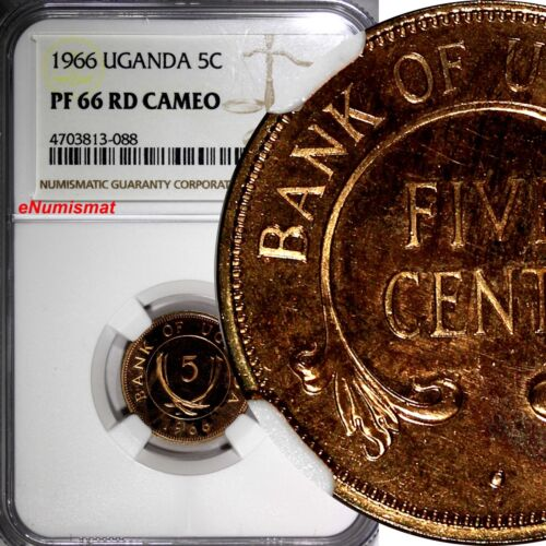 Uganda Bronze PROOF 1966 5 Cents NGC PF66 RD CAMEO RED TOP GRADED BY NGC KM# 1