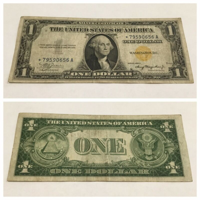 VINTAGE rare AFRICA STAR 1935-A $1 SILVER CERTIFICATE ONE DOLLAR YELLOW GOLD