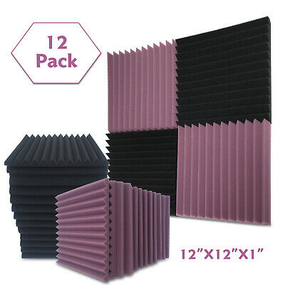 "12 Pack 12""X 12""X1"" Acoustic Panels Studio Sound Proofing Foam Wedge Wall Tiles"