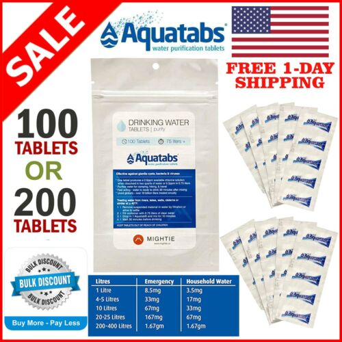 Survival #1 Water Purification Tablets Aquatabs Easy Purify and Cleaning Water