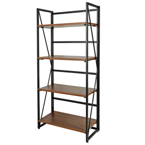 4 Tier Folding Bookshelf Storage Shelves Foldable Bookcase M