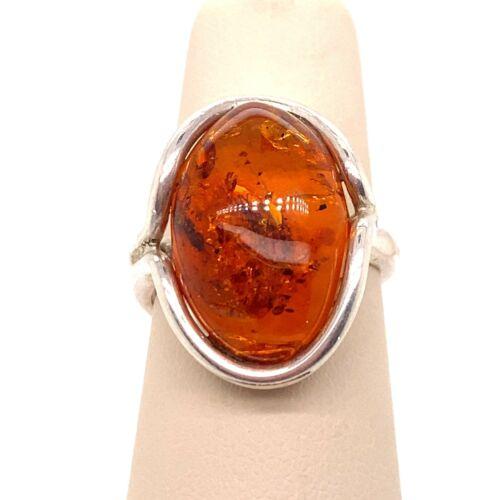 VTG Estate Sterling Silver & Amber Adjustable Size 8 Ring! 121