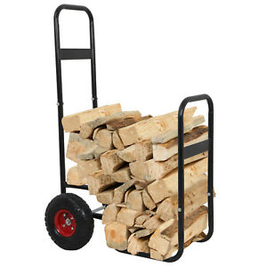 Firewood Cart Log Carrier Fireplace Wood Mover Hauler Rack Caddy Rolling Dolly