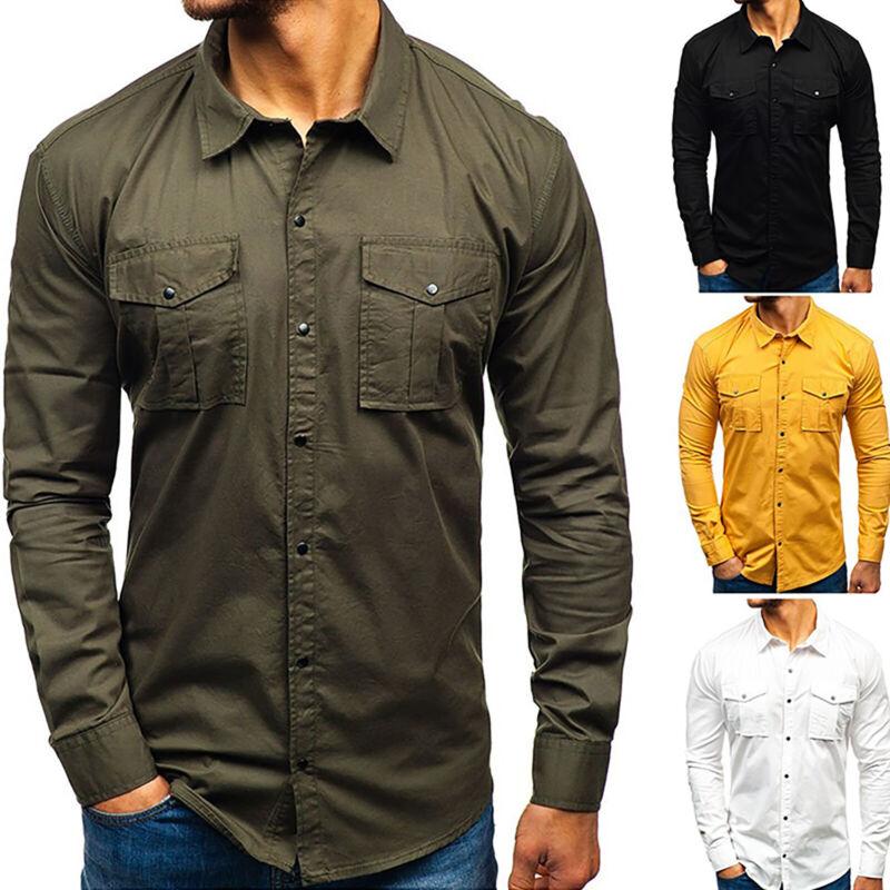 Men Military Army Long Sleeve Slim Fit Cargo Combat Shirt Po