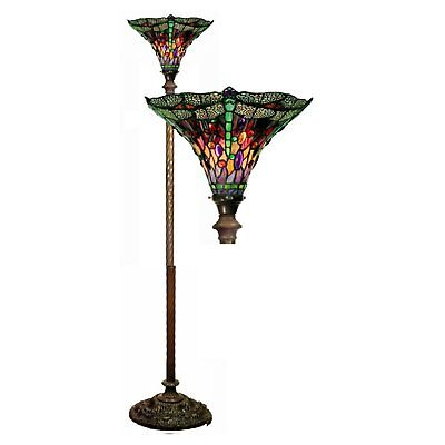 - Tiffany Style Glass Floor Lamp Torchiere Shade Living Room Light Antique Vintage