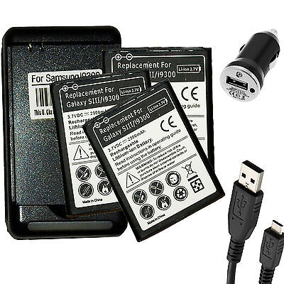 3 x 2900mAh battery+USB Charger For Samsung Galaxy S 3 III i535 T999 L710 i9300