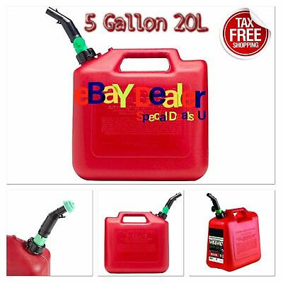 Jerry Can 5 Gallon 20l Gas Fuel Army Military Plastic Auto Shut-off W Spout Red