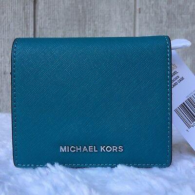 NEW Michael Kors Jet Set Travel Flap Card Holder Wallet PEACOCK Saffiano