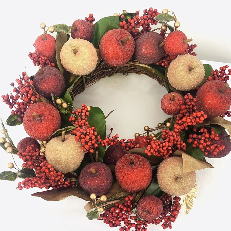 """CHRISTMAS SUGARED FAUX APPLE FRUIT BERRIES GOLD RED LUXURY WREATH 17"""""""