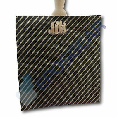 500 Extra Large Black and Gold Striped Gift Shop Boutique Plastic Carrier Bags