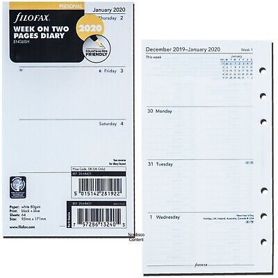 2020 Filofax Personal Size Refill 20-68421 Week On Two Pages 95mm X 171mm