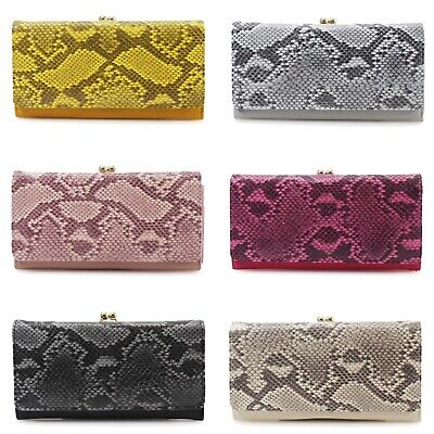 Ladies Women's Large Snakeskin Print All Over Evening Party Purse Wallet New
