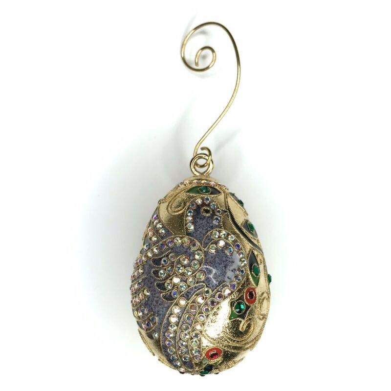Enamel Egg Ornament Swarovski Crystals Gold Leaf Peace Dove Numbered Dated 2001