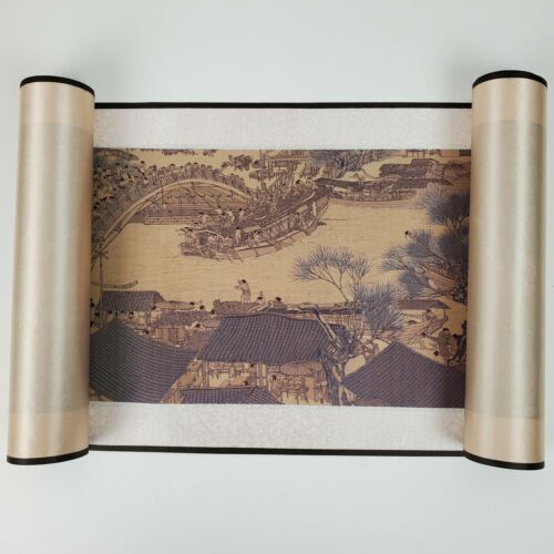 Vintage Along The River During Qingming Festival Silk Scroll ART 37x8 In