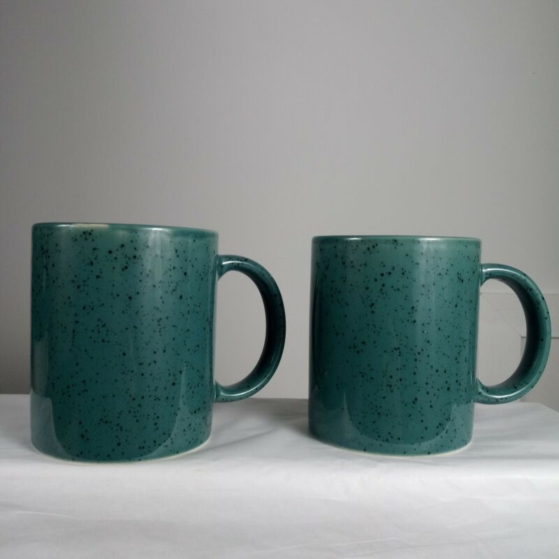 Vintage Century Stoneware Japan Mid Century Mugs Coffee Cup Speckled Green  MCM