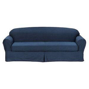 All Cotton Blue Denim 2 Piece Sofa Loveseat Slipcover Cove