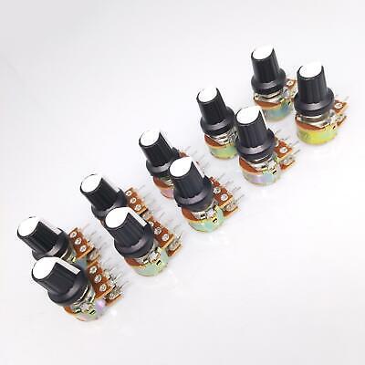 10 Units 10k B10k Ohm Linear Taper Rotary Dual Potentiometer Pot White Knob