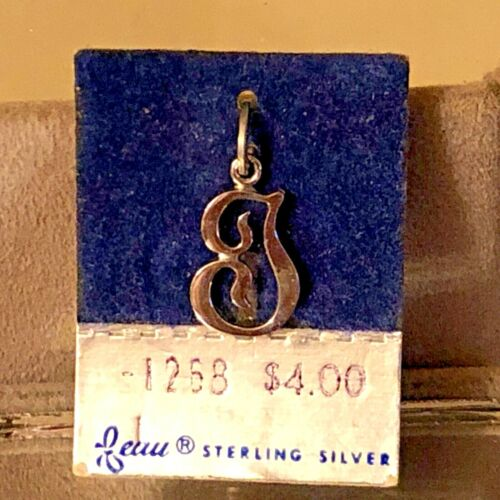 """NEW VTG Sterling Silver Beau Initial """"T"""" Charm Pendant 3/4"""" On original card"""