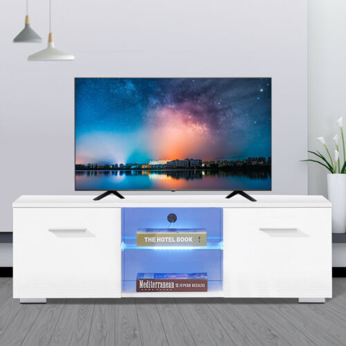 "High Gloss White 47"" TV Stand Cabinet Console Furniture w/ L"
