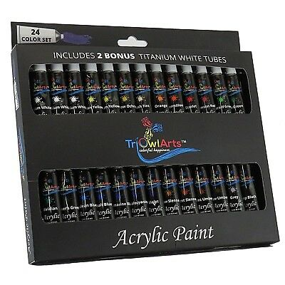 SALE - Acrylic Paint Set - 24 Colors - BONUS 2 Titanium White Tubes - Art Set