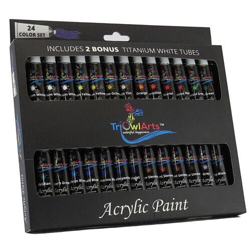 SALE - Acrylic Paint 24 Colors with BONUS 2 Titanium White Tubes - Art Set