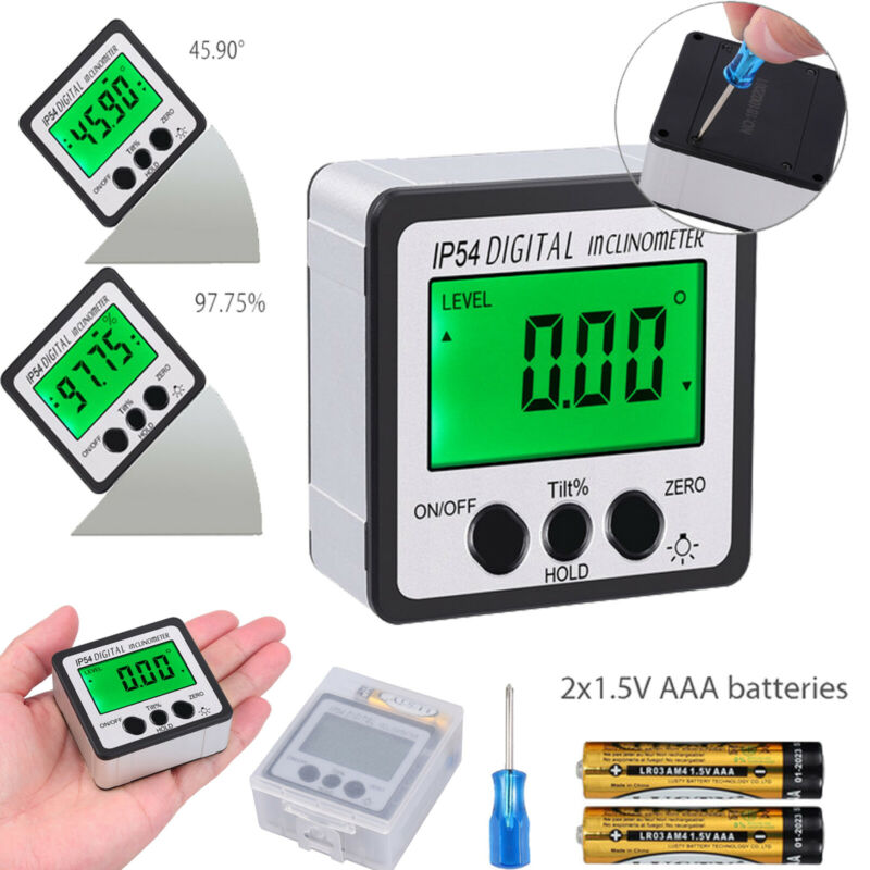 4*90° Level Box Gauge Digital LCD Inclinometer Protractor Magnetic Angle Finder