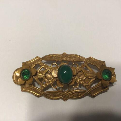 Vintage Art Nouveau Brooch  Repousse Pin C Clasp Green Stones Floral Motif