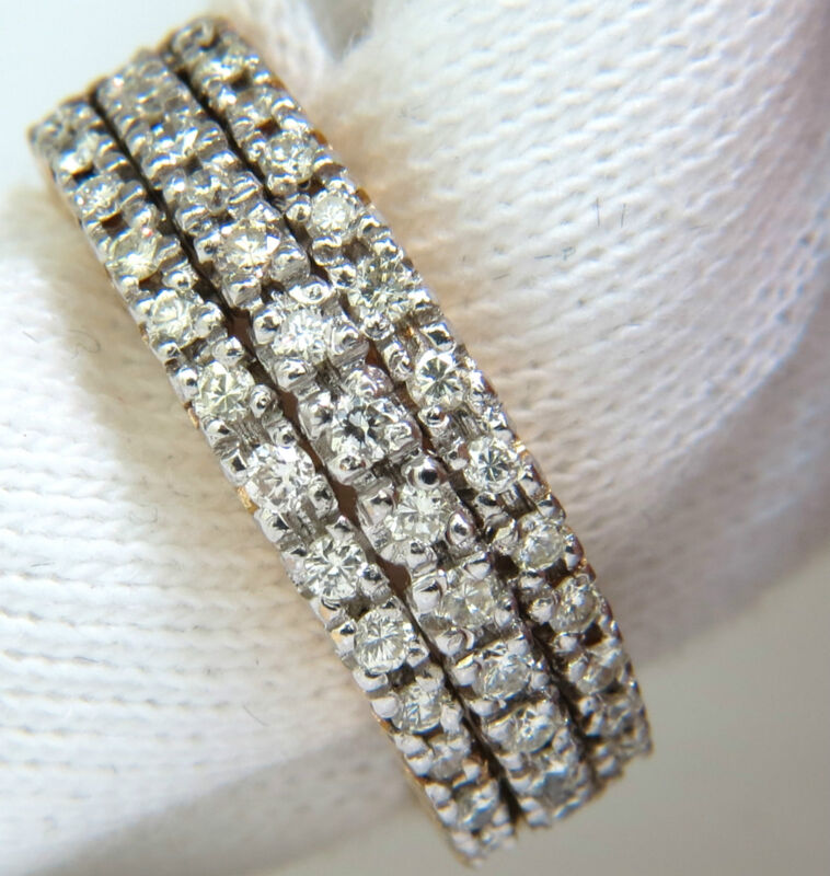 █$4500 1.23CT DIAMONDS BAND RING H/VS CLASSIC 3 ROWS 14KT █