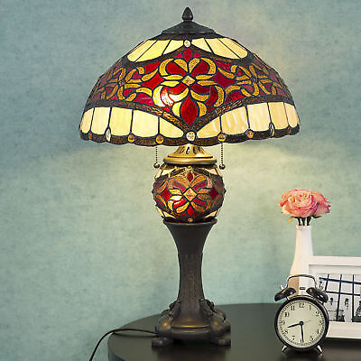 Tiffany Style Victuals Lamp Double Lit Desk Lamp Stained Glass Home Decor Lighting