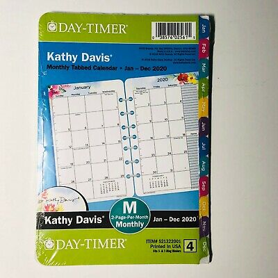 2020 Day-timer Kathy Davis Tabbed Monthly Planner 8.5x5.5 Refill Size 4