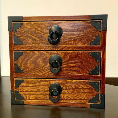 DRAWER WOOD TANSU CHEST MEIJI OLD JAPANESE ANTIQUE Storage Box Handmade Japan 1