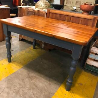 Rustic industrial Baltic pine timber dining table