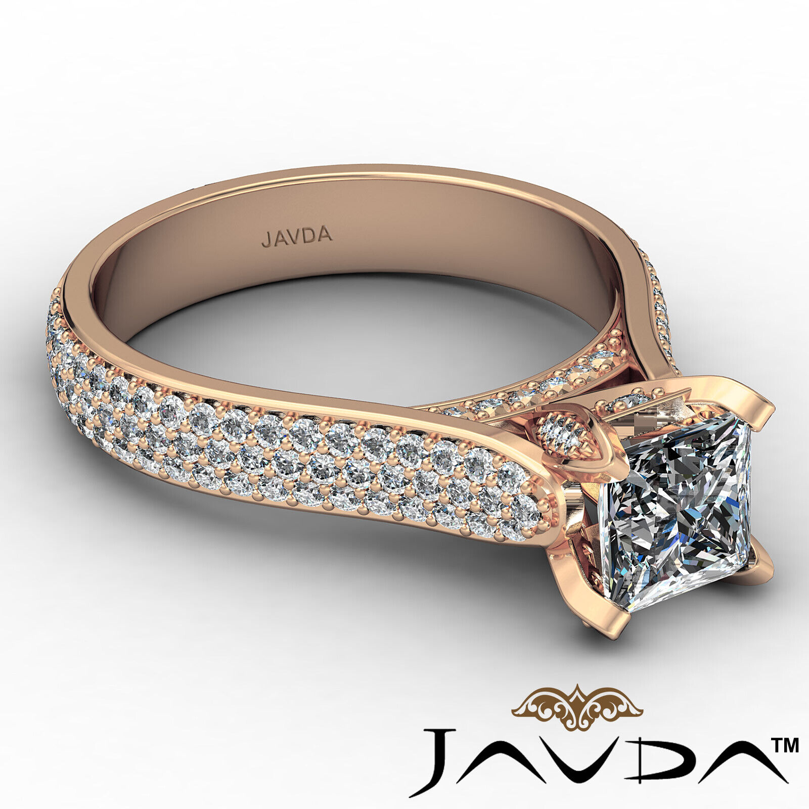 Princess Diamond Engagement Micro Pave Ring GIA E Color & SI1 clarity 1.95 ctw 8