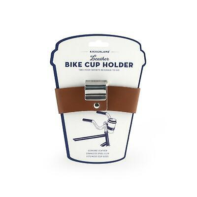 Kikkerland Genuine Leather Bike Cup Holder Retro Steel Cycling Accessories Gift