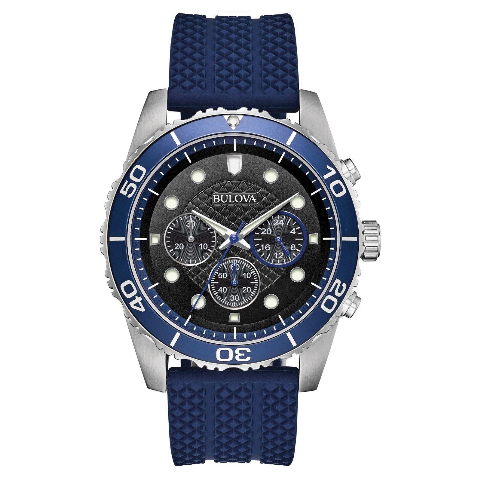 Bulova Sport Men's Quartz Chronograph Black Dial Blue Band 43mm Watch 98A190
