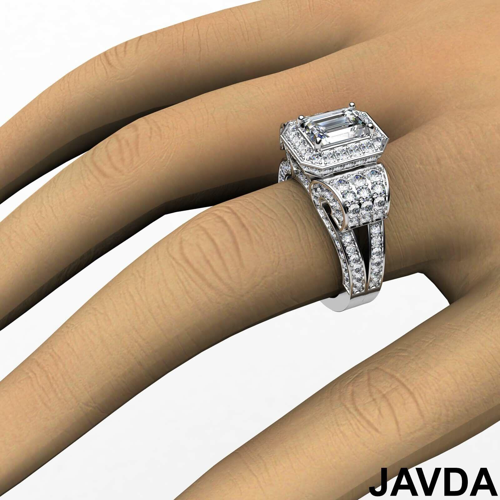 4.4ctw Antique Vintage Halo Emerald Diamond Engagement Ring GIA I-VS1 White Gold 5
