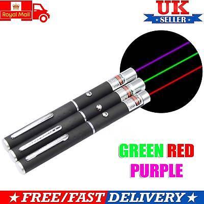 Laser Pointer Pen 3 Pieces Green + Purple + Red Light Beam High Power Light UK