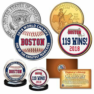 Boston Red Sox Coin Set - Boston Red Sox 2018 World Series Champions 119 WINS Legal Tender US 2-Coin Set