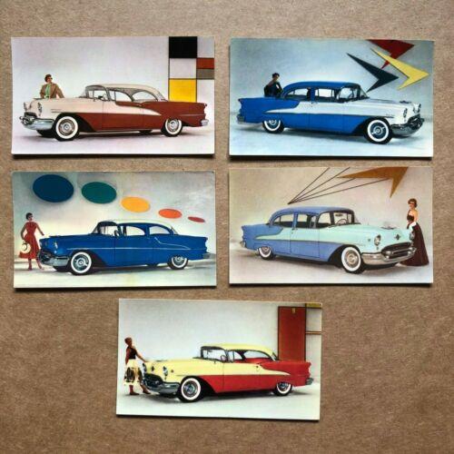 """5 Vintage 1957 color sales cards OLDSMOBILE Super """"88"""", """"98"""" Eames Era MCM"""