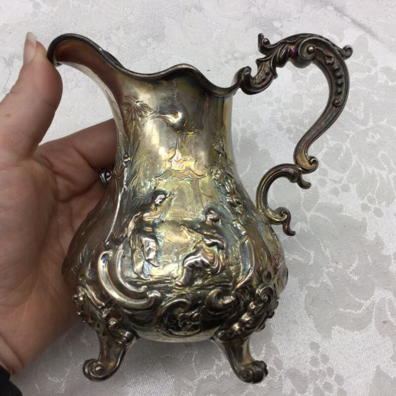 Robert Hennell Sterling Silver Antique Creamer Repousse Figural English Hallmark
