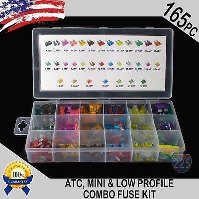 165 Pcs Atc Mini Low Profile Mini Blade Fuse Auto Car Fuses Assortment Kit