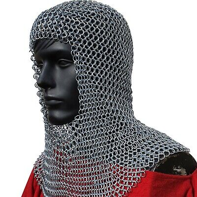 Medieval Solid Iron Chain Mail Hood Crusader Coif Armor - Battle Ready, Silver