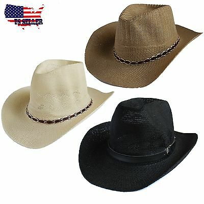Child Straw Cowboy Hat (Western Men Summer Straw Cowboy Hat Cap Hat Shareable Beach Sun Rodeo Panama)