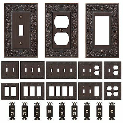 Oil Rubbed Bronze Wall Switch Plate Outlet Covers Ornate Floral Metal -