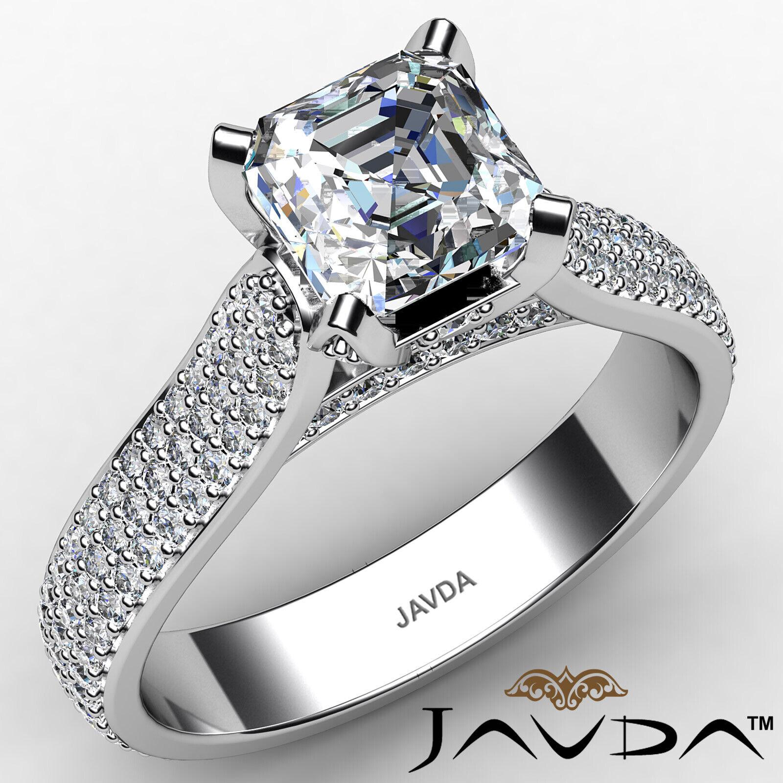 Asscher Diamond Engagement Lotus Basket Ring GIA I Color & VS1 clarity 2.18 ctw