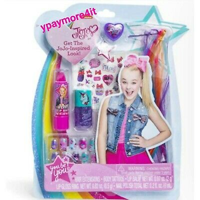 - Jojo Siwa INSPIRED LOOK Kit! Lip gloss- Nails & Polish- Tattoos- Hair Extensions