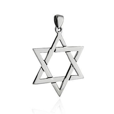Star of David Pendant - 925 Sterling Silver - Jewish Israel Gift Judaica Large